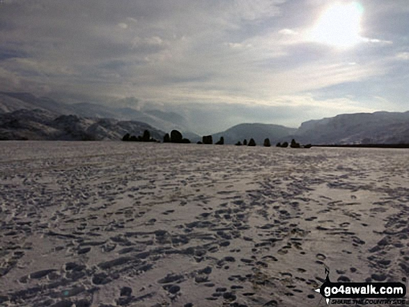 Castlerigg Stone Circle in the snow. Walk route map c201 Ashness Bridge and Walla Crag from Keswick photo