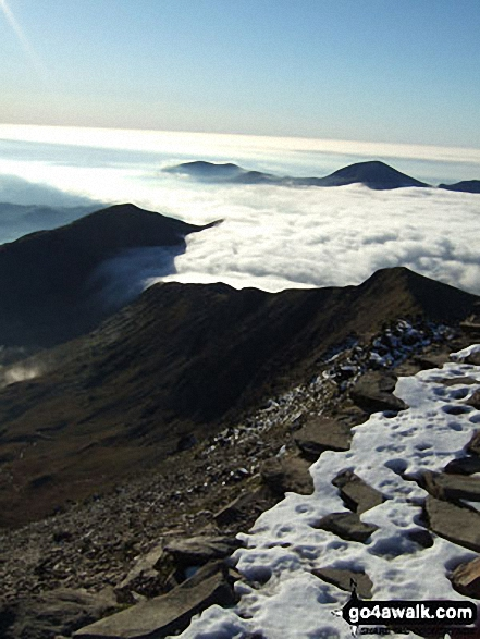 Temperature Inversion from the summit of Snowdon (Yr Wyddfa). Walk route map gw186 Snowdon and Moel Cynghorion from Llanberis photo