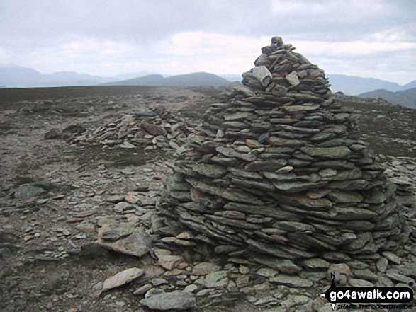 Brim Fell summit cairn. Walk route map c254 The Old Man of Coniston and Brim Fell from Coniston photo