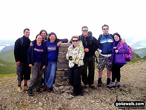 Walk c192 Helvellyn Ridge from Glenridding - With work colleagues on the summit of Helvellyn on a sponsored walk