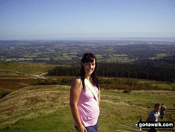 Me up on Twmbarlwm where I live with stunning views of our town and the River Severn