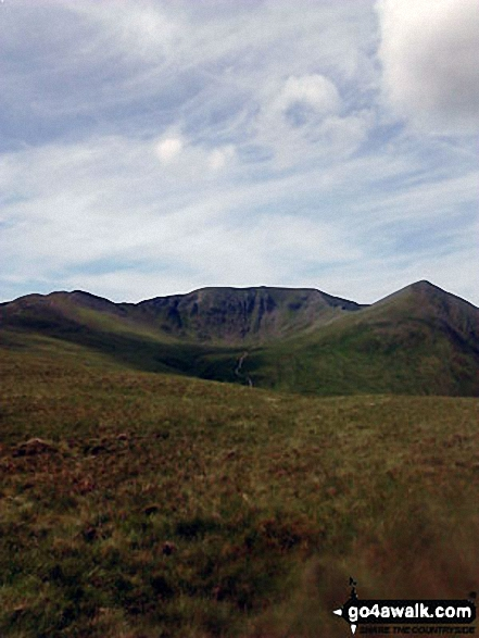 Striding Edge (left), Helvellyn and Catstye Cam from Birkhouse Moor