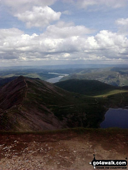 Swirral Edge, Catstye Cam, Red Tarn (Helvellyn) and Ullswater from the summit of Helvellyn