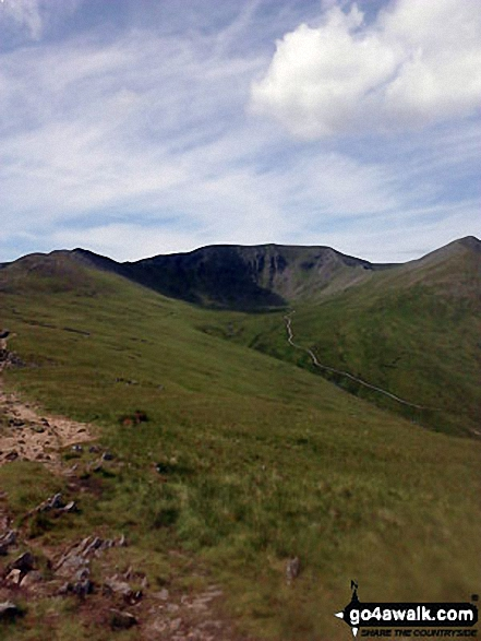 Striding Edge (left), Helvellyn and Catstye Cam from the Birkhouse Moor