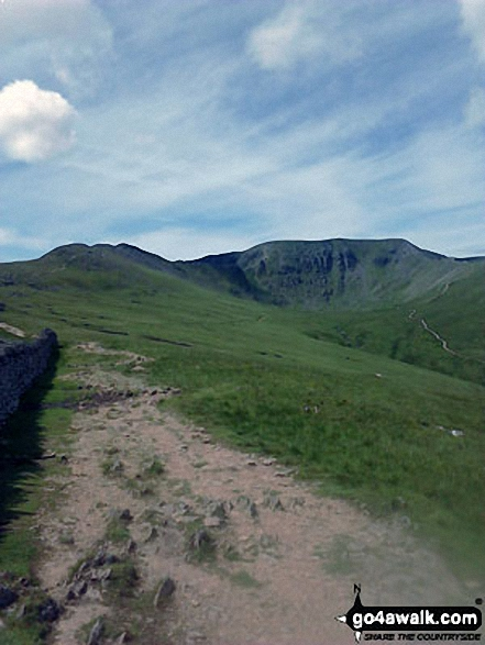 Striding Edge (left) and Helvellyn from the approach to Hole-in-the-Wall