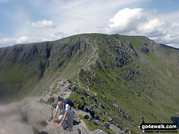 Walkers negotiating Striding Edge