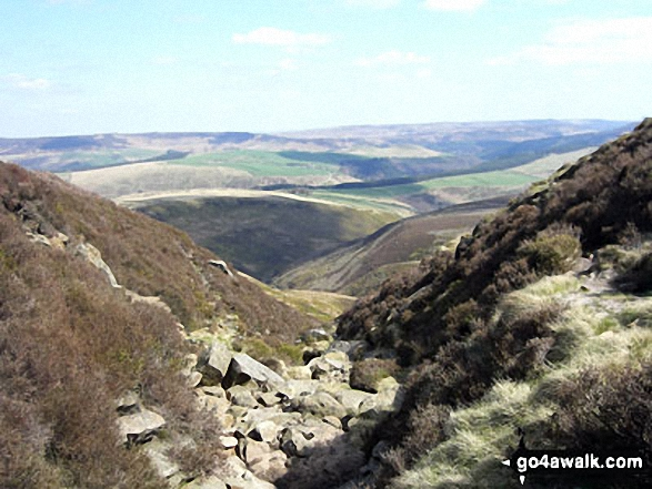 Looking down Jaggers Clough from The Kinder Plateau (Edale Moor)