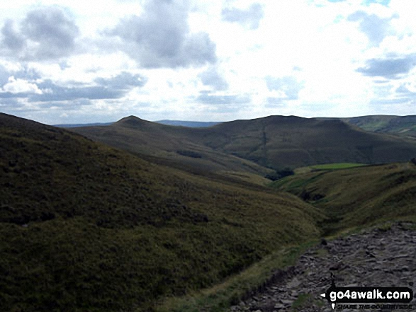 South Head and Mount Famine from near Edale Cross. Walk route map d186 Kinder Scout and Kinder Downfall from Bowden Bridge, Hayfield photo