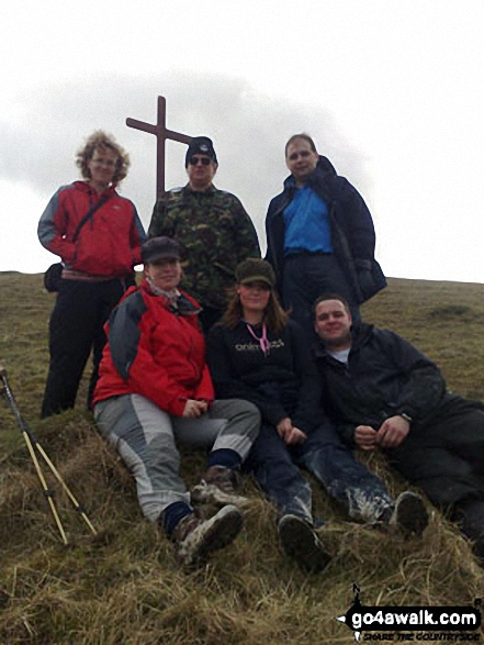 My family on Cherhill Hill, The Cherhill Downs near the White Horse on Good Friday after carrying the wooden cross up the hill.