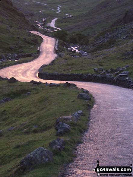 The winding road up Honister Pass