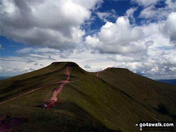 View from Pen y Fan. Walk route map po100 Pen y Fan from Neuadd Reservoir photo