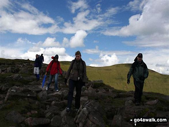 Walk po169 Corn Du, Pen y Fan, Cribyn and Fan y Big from Nant Cwm Llwch nr Brecon - Craig Gwaun Taf from Corn Du