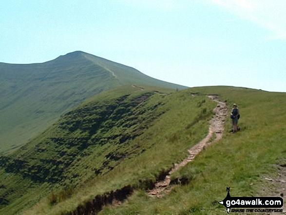 Approaching Corn Du from Pen y Fan. Walk route map po158 Pen y Fan from The Storey Arms Outdoor Centre photo