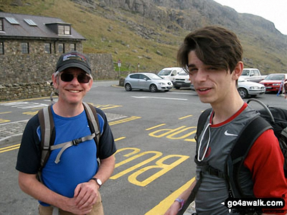 Andy and Roman at Pen-y-Pass before our expedition up Mount Snowdon. Walk route map gw198 The Welsh 3000's (Snowdon Area) from Pen y Pass photo