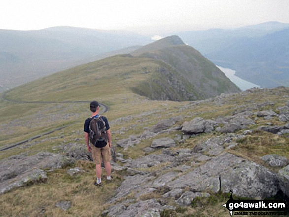 Andy looking along the ridge towards Llanberis from Llechog