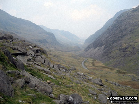 The Llanberis Valley from the PYG Track, Mount Snowdon. Walk route map gw198 The Welsh 3000's (Snowdon Area) from Pen y Pass photo