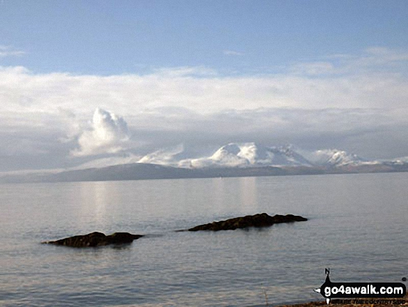 Beinn Tarsuinn and Goatfell (Goat Fell) on The Isle of Arran under a blanket of snow from Ardrossan