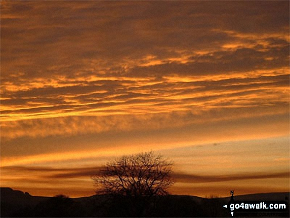 Sunset from Chelmorton. Walk route map d249 The Monsal Trail, Miller's Dale and Chelmorton from Wye Dale photo