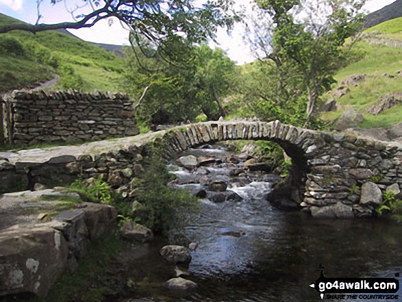 High Sweden Bridge. Walk route map c247 The Fairfield Horseshoe from Ambleside photo