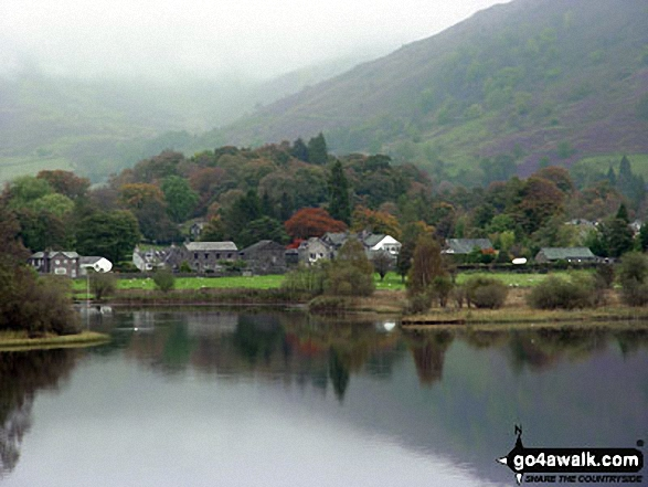 Grasmere from the west shore. Walk route map c358 Seat Sandal, Fairfield and Heron Pike from Grasmere photo