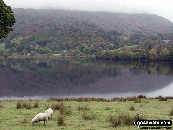 Grasmere Lake. Walk route map c266 Seat Sandal and Fairfield from Grasmere photo