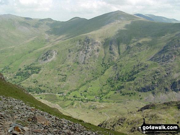 Llanberis Pass with Y Garn (Glyders) beyond from near Crib y Ddysgl on the Llanberis Path near the top of Mount Snowdon