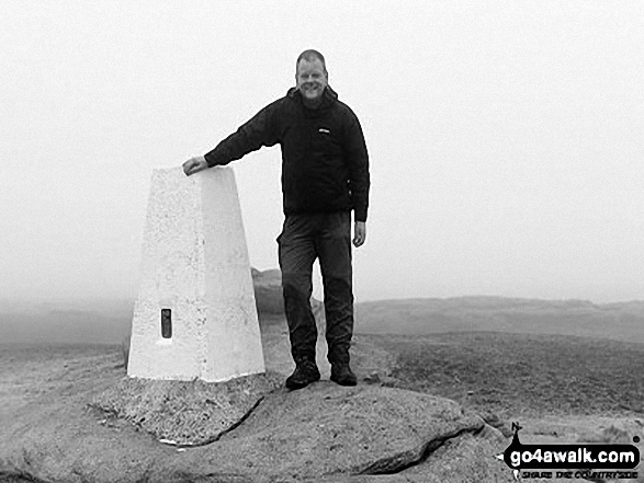 Chris on top of Kinder Low (Kinder Scout). Walk route map d296 Jacob's Ladder and Kinder Scout from Edale photo