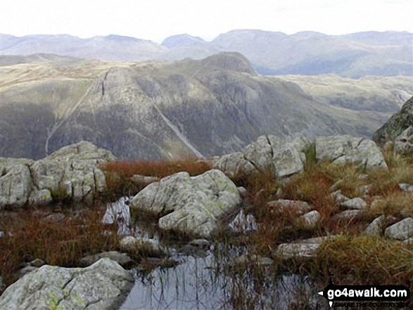 Walk c108 Crinkle Crags from The Old Dungeon Ghyll, Great Langdale - The Langdale Pikes from Crinkle Crags (South Top)