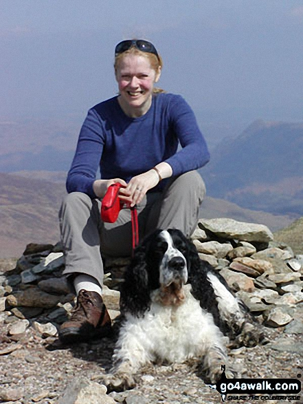 Me and my best friend Sam on Nethermost Pike. Walk route map c192 Helvellyn Ridge from Glenridding photo
