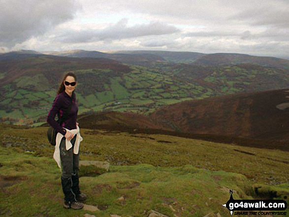 My wife on the summit of Sugar Loaf (Y Fal)