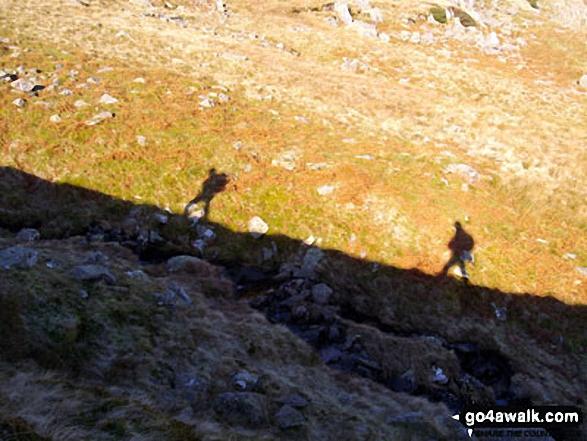 Climbing Birkhouse Moor above Mires Beck