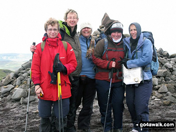 My friends and me on Kinder Scout. Walk route map d186 Kinder Scout and Kinder Downfall from Bowden Bridge, Hayfield photo