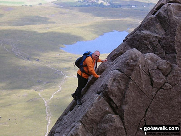 Me dismounting The Cioch (or Cioch Buttress) on the South West ridge of Sgurr Sgumain (Sgurr Alasdair) in The Cuillin Hills, Isle fo Skye