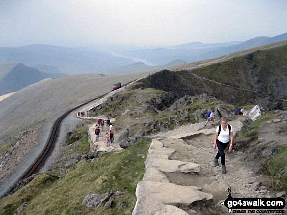 Near the summit of Mount Snowdon. Walk route map gw186 Snowdon and Moel Cynghorion from Llanberis photo