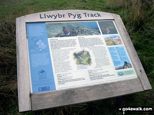 The Pyg Track Information Board. Walk route map gw198 The Welsh 3000's (Snowdon Area) from Pen y Pass photo