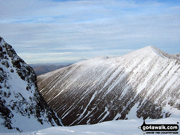 Carn Mor Dearg from Ben Nevis. Walk route map h100 Ben Nevis via The Tourist Path from Achintee, Fort William photo
