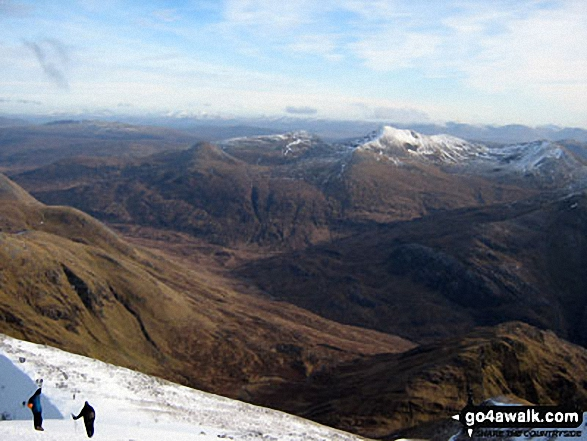Glen Nevis from Ben Nevis. Walk route map h137 Ben Nevis and Carn Mor Dearg from Achintee, Fort William photo