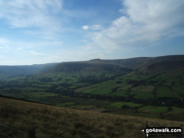 Kinder Scout and the Edale Valley from Hollins Cross. Walk route map d123 Mam Tor via Cavedale from Castleton photo