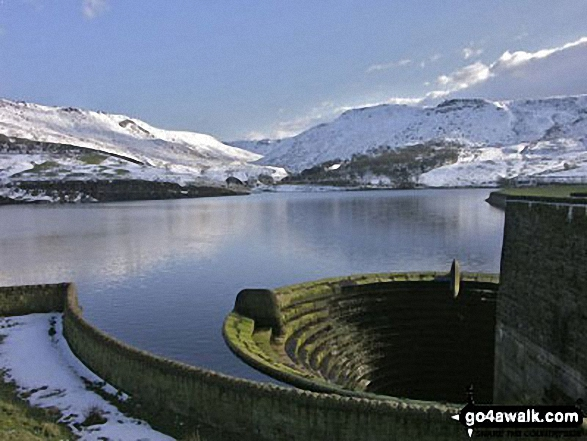 Snow on Dean Rocks and Hoarstone Edge from Dove Stone Reservoir