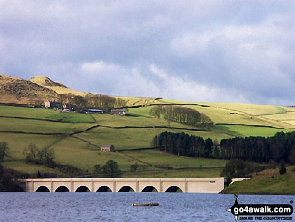 Ashopton Bridge with Crook Hil beyond, Ladybower Reservoir
