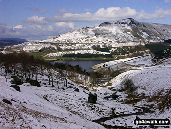 A snowy Dovestone Reservoir with Dick Hill beyond from Chew Brook