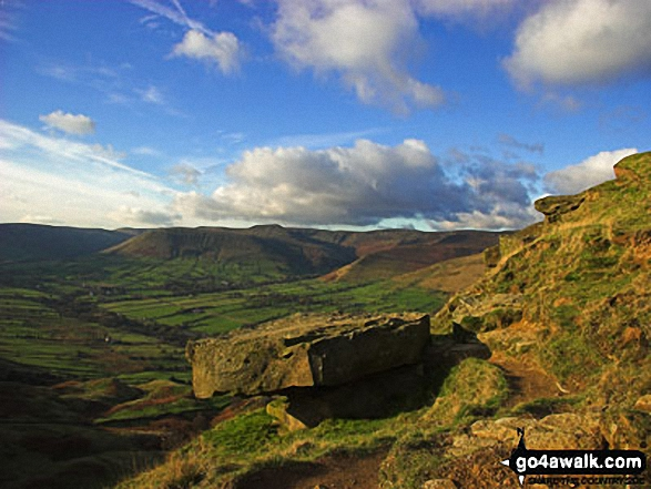 The Edale Valley from Back Tor (Hollins Cross). Walk route map d118 Lose Hill (Ward's Piece), Back Tor (Hollins Cross) and Castleton from Hope photo