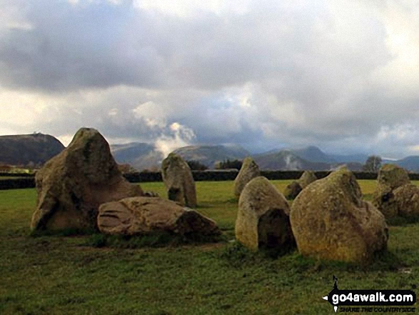 Castlerigg Stone Circle with the shoulder of Walla Crag (left), Maiden Moor and Cat Bells (Catbells) in the background