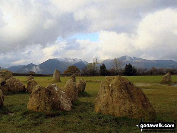 Castlerigg Stone Circle with Sail, Causey Pike, Barrow and Grisedale Pike in the background