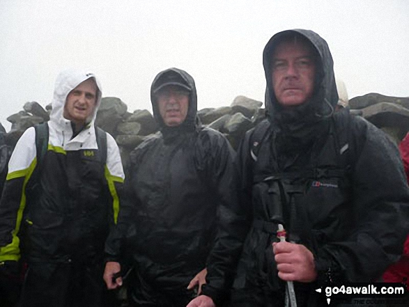 On a very wet Scafell Pike last summer (ha ha ha). Walk route map c370 Scafell Pike from Seathwaite photo