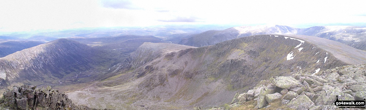 *Carn a' Mhaim, Lairig Ghru, The Devil's Point and Stob Coire an t-Saighdeir from Cairn Toul (Carn an t-Sabhail)