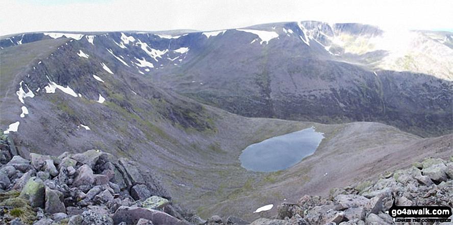 *Sgor an Lochain Uaine (The Angel's Peak), Lochain Uaine and Braeriach (Braigh Riabhach) from Cairn Toul (Carn an t-Sabhail)
