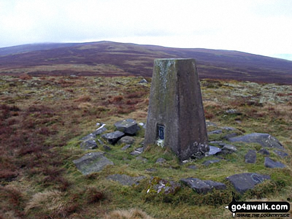 Fiend's Fell summit Trig Point. Walk route map c430 Cuns Fell, Melmerby Fell and Fiend's Fell from Melmerby photo