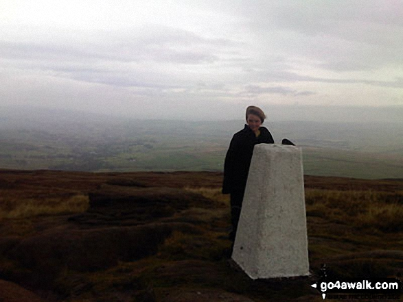 My son Aaron on the summit of Lad Law (Boulsworth Hill) during our first hike together