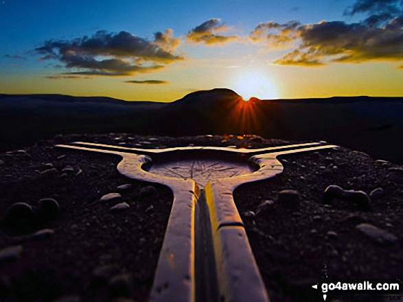 Sunset from the trig point on the summit of Mam Tor. Walk route map d158 Sparrowpit and Mam Tor from Castleton photo